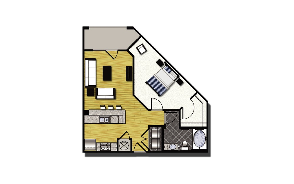 A1-1 - 1 bedroom floorplan layout with 1 bath and 783 square feet. (2D)