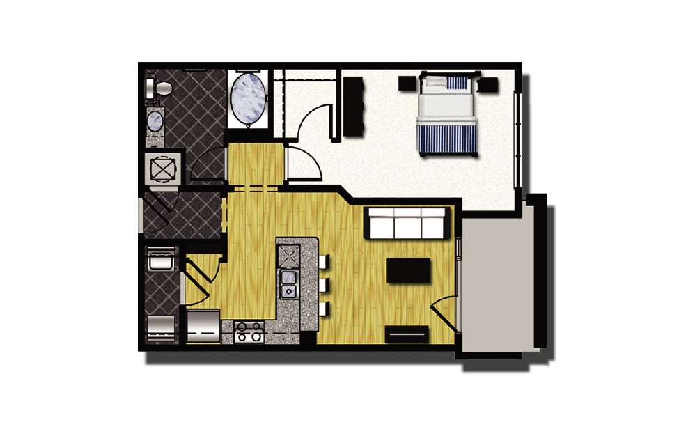 A1-2 - 1 bedroom floorplan layout with 1 bath and 792 square feet.