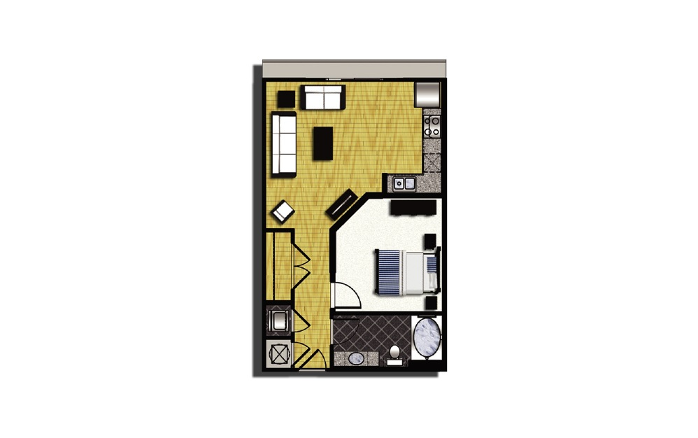 A1-3 - 1 bedroom floorplan layout with 1 bath and 680 square feet.