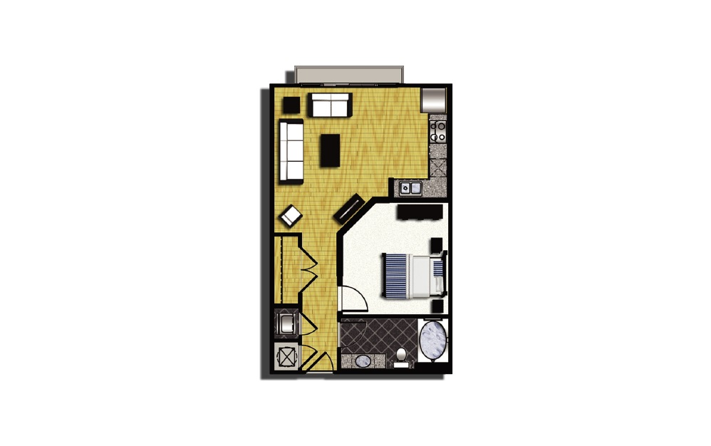 A1-3.1 - 1 bedroom floorplan layout with 1 bath and 661 square feet.
