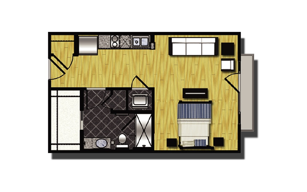 A1-4 - Studio floorplan layout with 1 bath and 515 square feet. (2D)