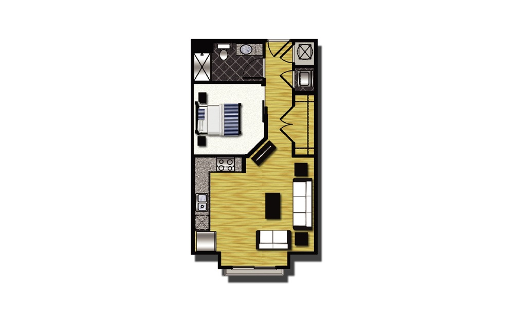 A1-5 - 1 bedroom floorplan layout with 1 bath and 565 square feet.