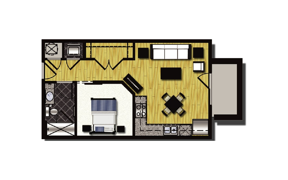 A1-5.1 - 1 bedroom floorplan layout with 1 bath and 578 square feet.