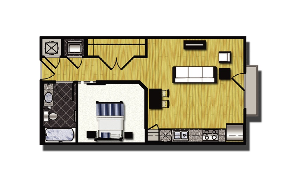 A1-6 - 1 bedroom floorplan layout with 1 bath and 606 square feet.