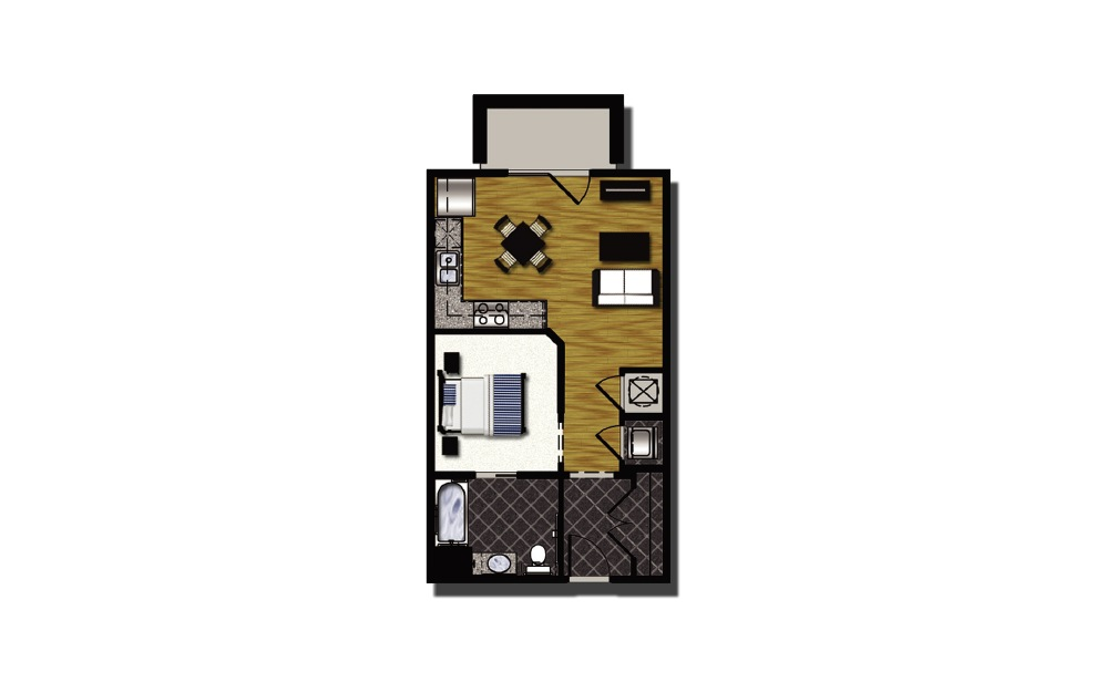 A1-7hc - 1 bedroom floorplan layout with 1 bath and 565 square feet.