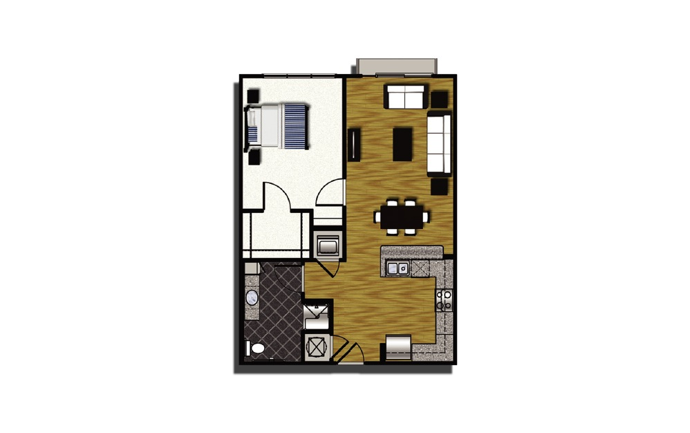 A1-8hc - 1 bedroom floorplan layout with 1 bath and 770 square feet.