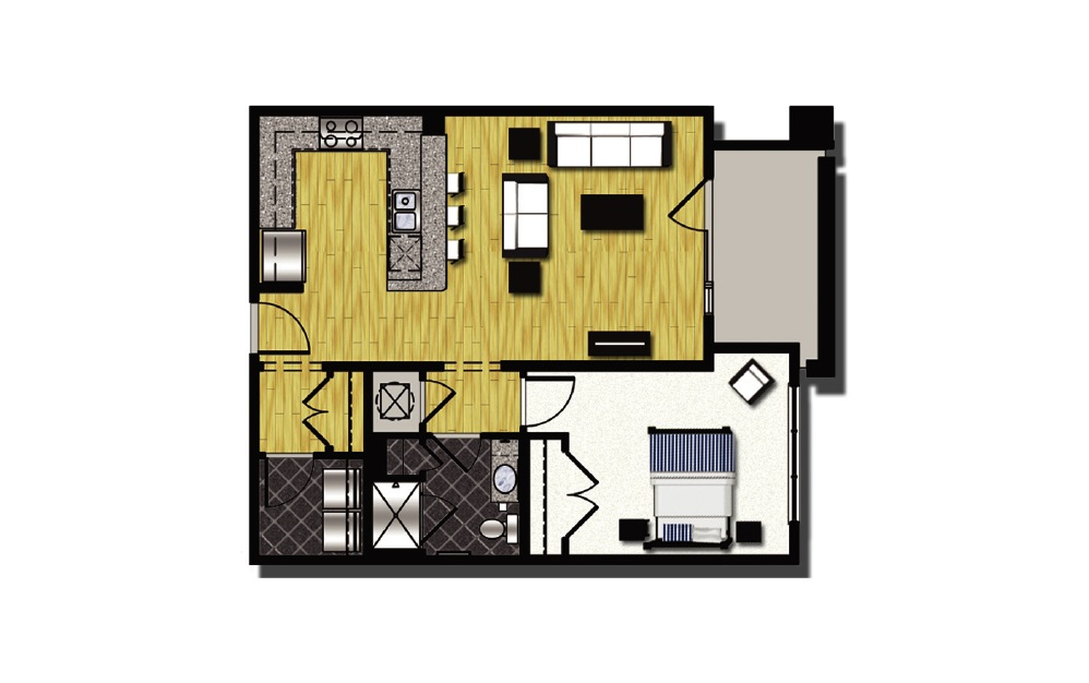 A1-9 - 1 bedroom floorplan layout with 1 bath and 861 square feet.