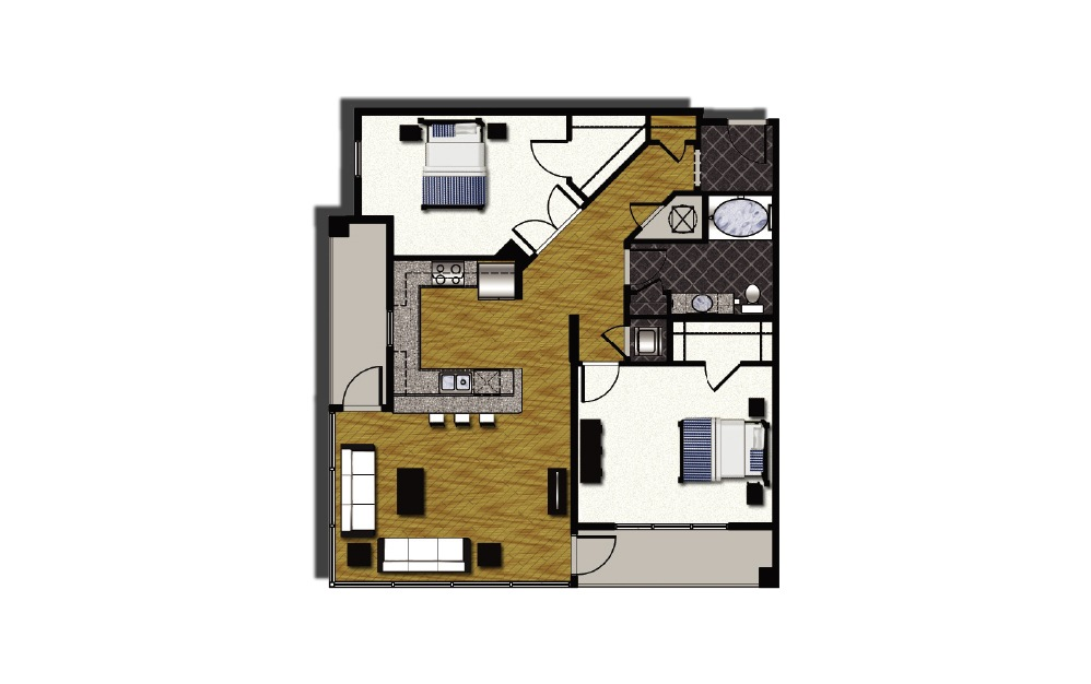 A2-1 - 2 bedroom floorplan layout with 1 bath and 1290 square feet.