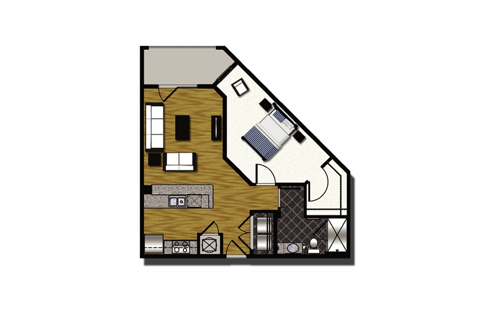 A2-2 - 1 bedroom floorplan layout with 1 bath and 783 square feet.