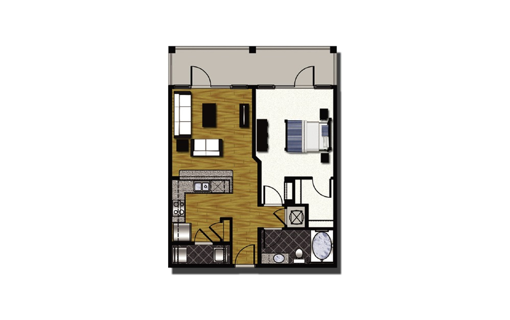 A2-3 - 1 bedroom floorplan layout with 1 bath and 877 square feet.