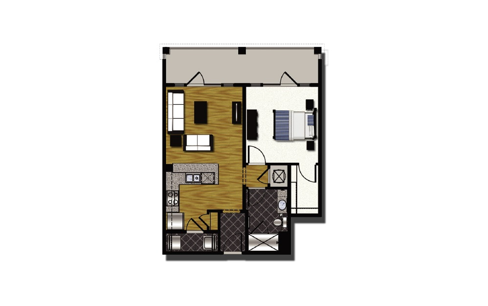 A2-4 - 1 bedroom floorplan layout with 1 bath and 853 square feet.