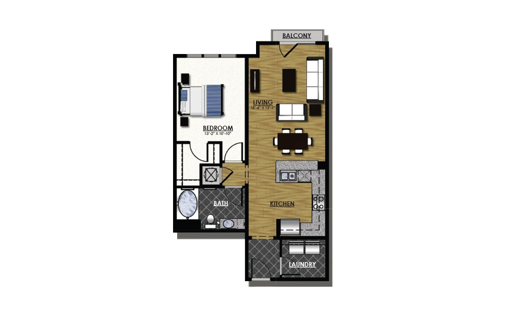 A2-5 - 1 bedroom floorplan layout with 1 bath and 817 square feet.