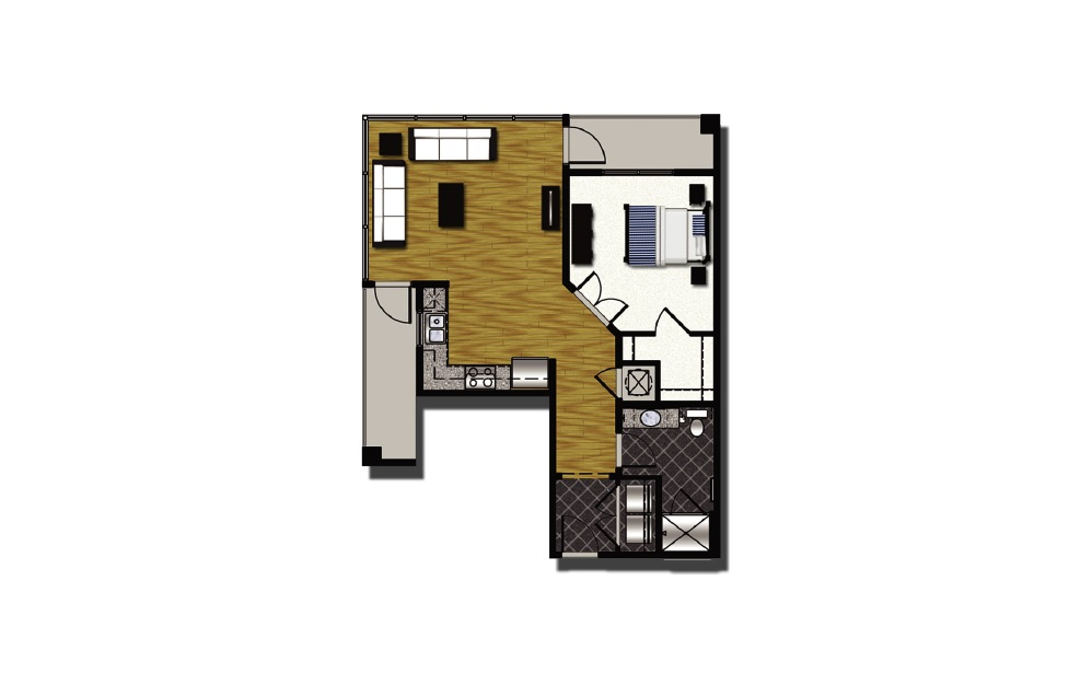 A2-6 - 1 bedroom floorplan layout with 1 bath and 896 square feet.
