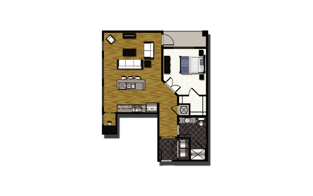 A2-6.2 - 1 bedroom floorplan layout with 1 bath and 896 square feet.