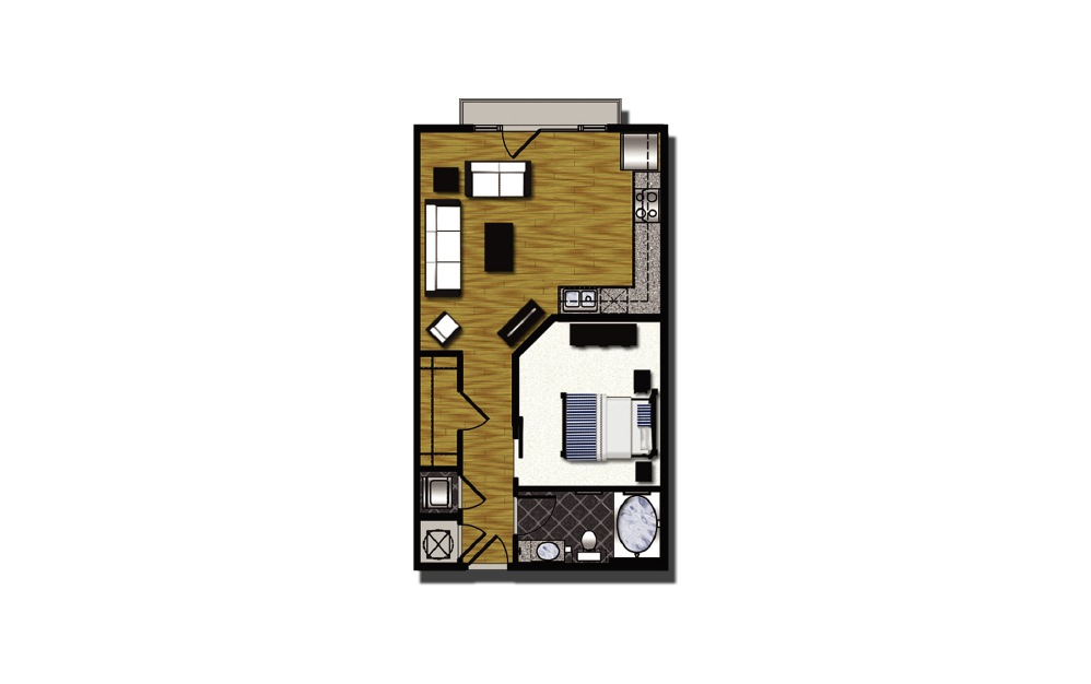 A2-7 - 1 bedroom floorplan layout with 1 bath and 646 square feet. (2D)