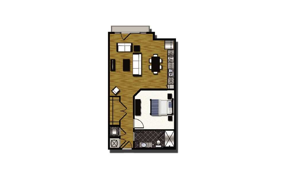 A2-8 - 1 bedroom floorplan layout with 1 bath and 758 square feet.