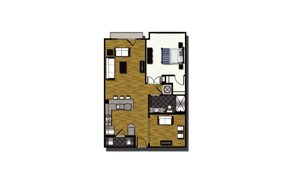 B1-1 - 1 bedroom floorplan layout with 1 bath and 916 square feet. (2D)