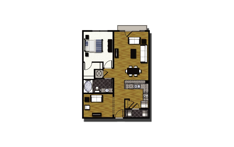 B2-1 - 1 bedroom floorplan layout with 1 bath and 907 square feet.