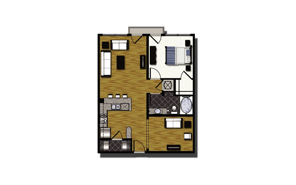 B2-2 - 1 bedroom floorplan layout with 1 bath and 851 square feet.