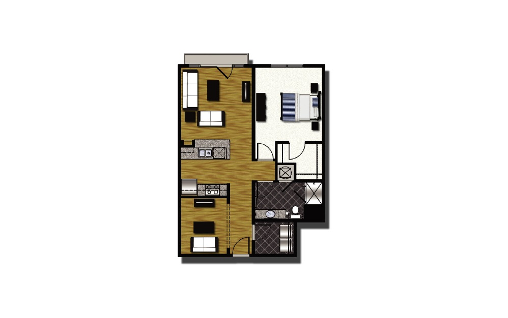 B2-3 - 1 bedroom floorplan layout with 1 bath and 876 square feet.