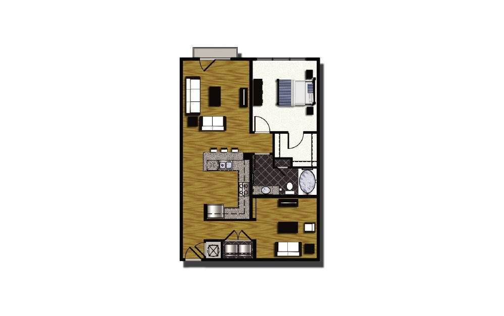 B2-4 - 1 bedroom floorplan layout with 1 bath and 983 square feet.