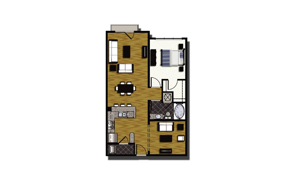 B2-6 - 1 bedroom floorplan layout with 1 bath and 907 square feet.