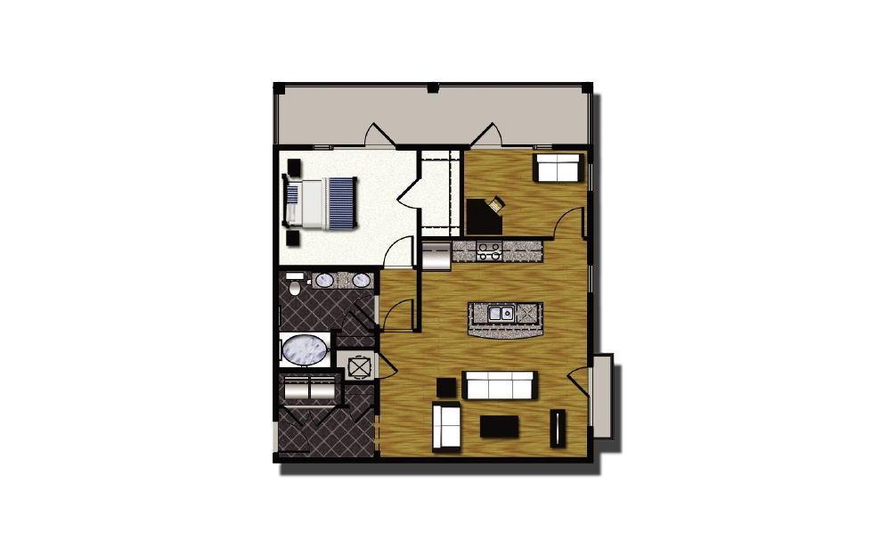 B2-7 - 1 bedroom floorplan layout with 1 bath and 1126 square feet.