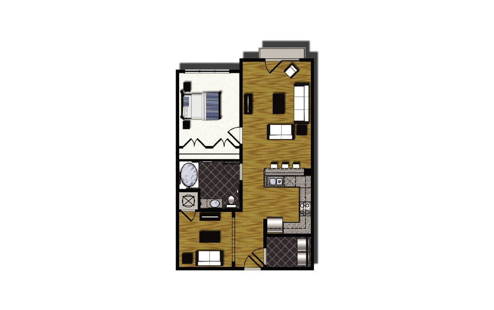B2-hc - 1 bedroom floorplan layout with 1 bath and 907 square feet.