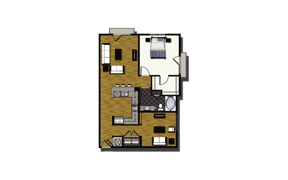 B2-4.1 - 1 bedroom floorplan layout with 1 bath and 1020 square feet.