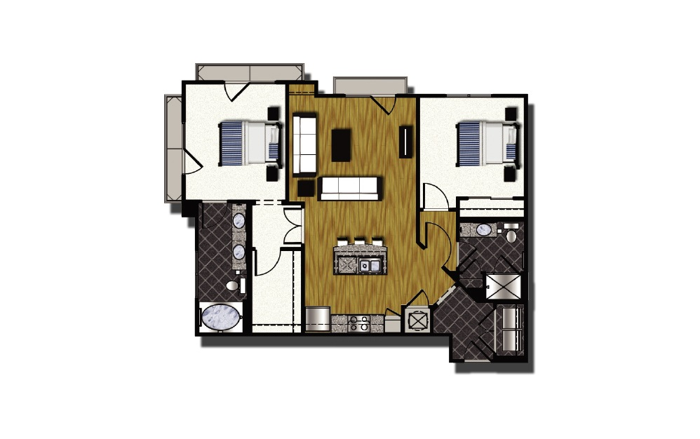 C1-1.2 - 2 bedroom floorplan layout with 2 baths and 1140 square feet.
