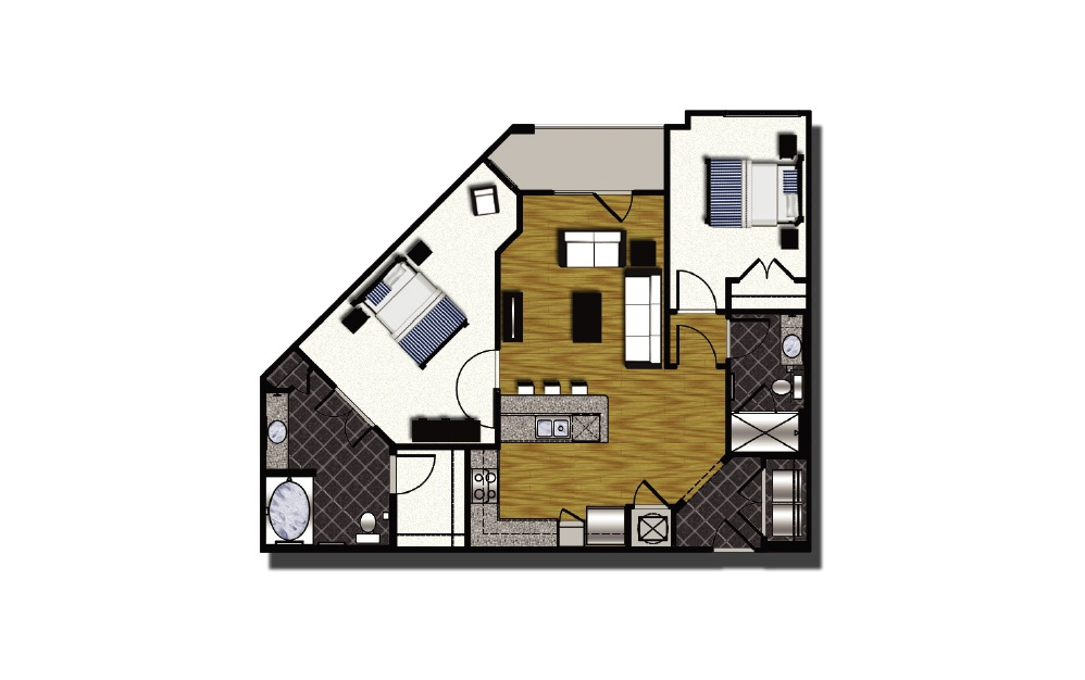 C1-2 - 2 bedroom floorplan layout with 2 baths and 1078 square feet. (2D)