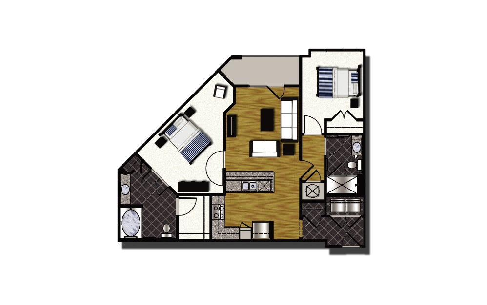 C1-3 - 2 bedroom floorplan layout with 2 baths and 1048 square feet.
