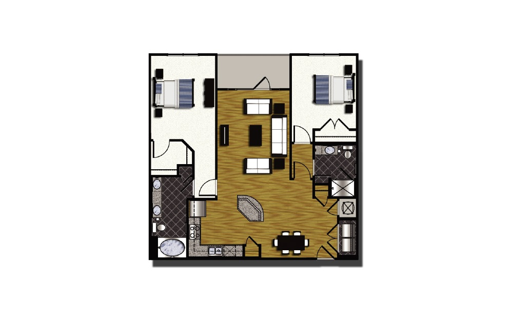 C1-4 - 2 bedroom floorplan layout with 2 baths and 1278 square feet.