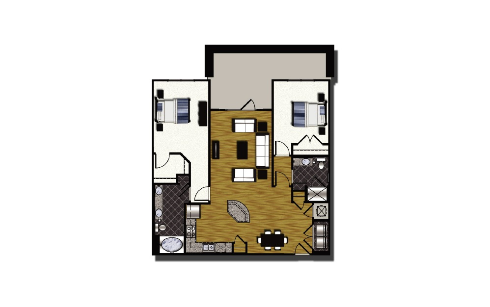 C1-14.1 - 2 bedroom floorplan layout with 2 baths and 1442 square feet.