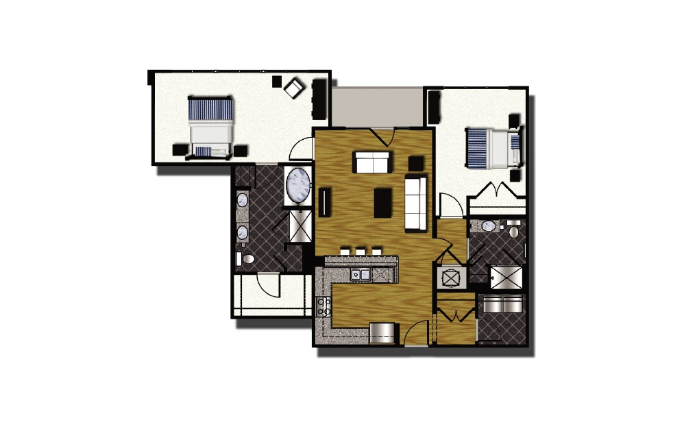 C1-5 - 2 bedroom floorplan layout with 2 baths and 1271 square feet.