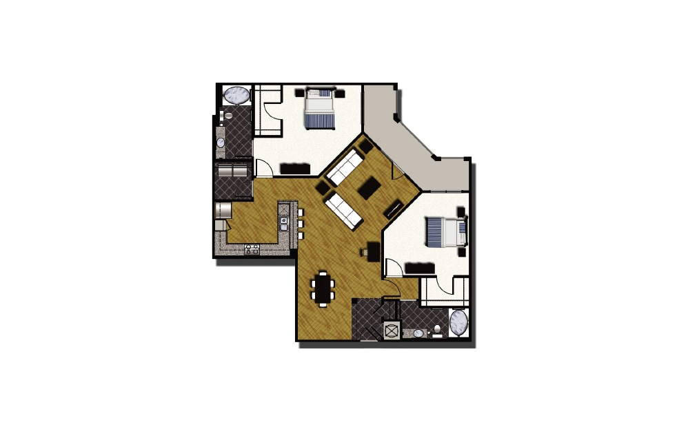 C1-6 - 2 bedroom floorplan layout with 2 baths and 1554 square feet. (2D)