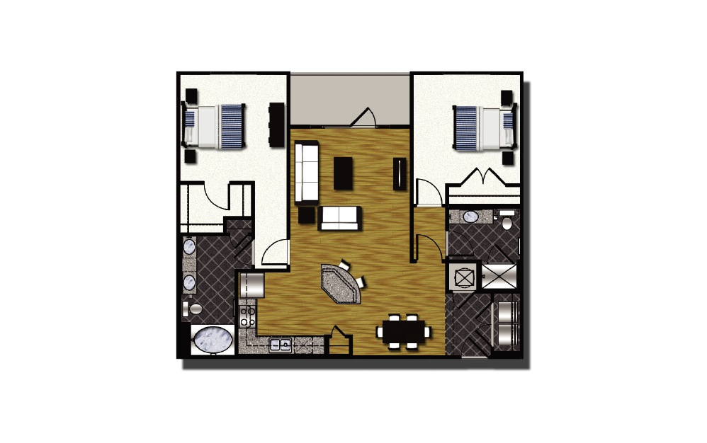 C1-7 - 2 bedroom floorplan layout with 2 baths and 1233 square feet. (2D)