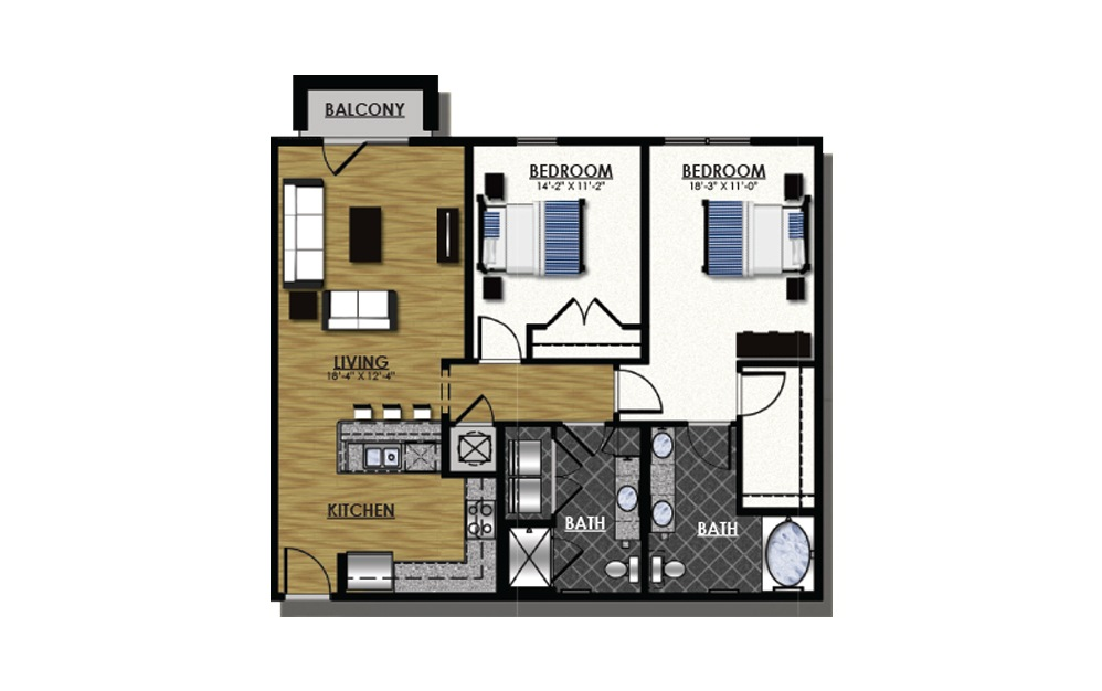 C2-2 - 2 bedroom floorplan layout with 2 baths and 1215 square feet.