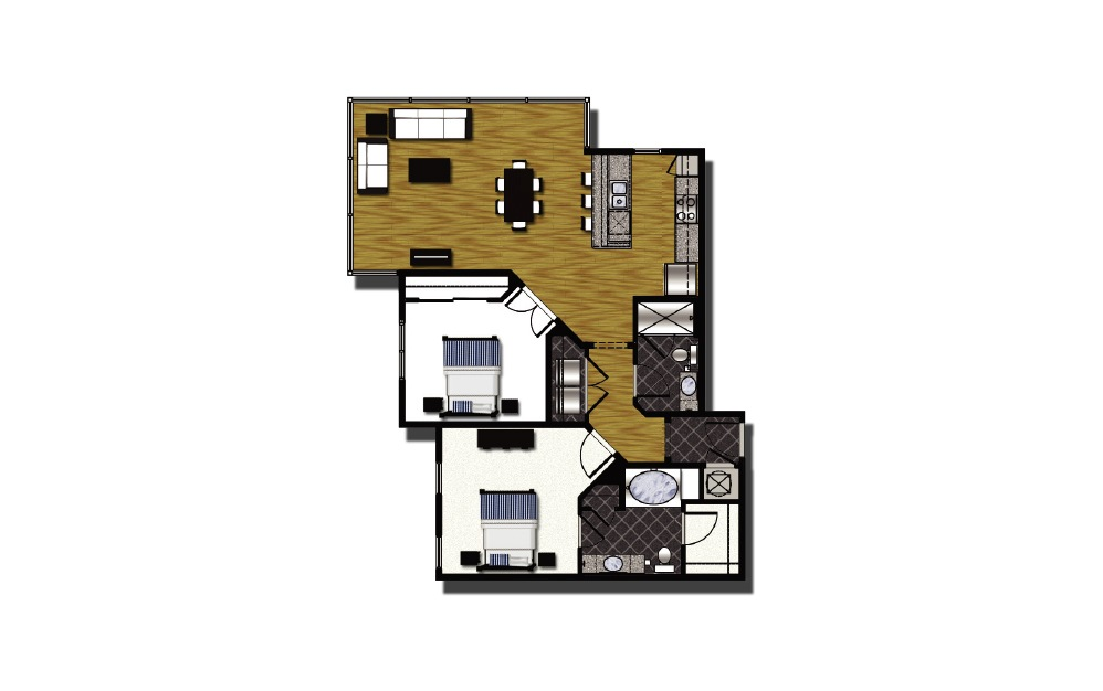C2-3 - 2 bedroom floorplan layout with 2 baths and 1164 square feet.