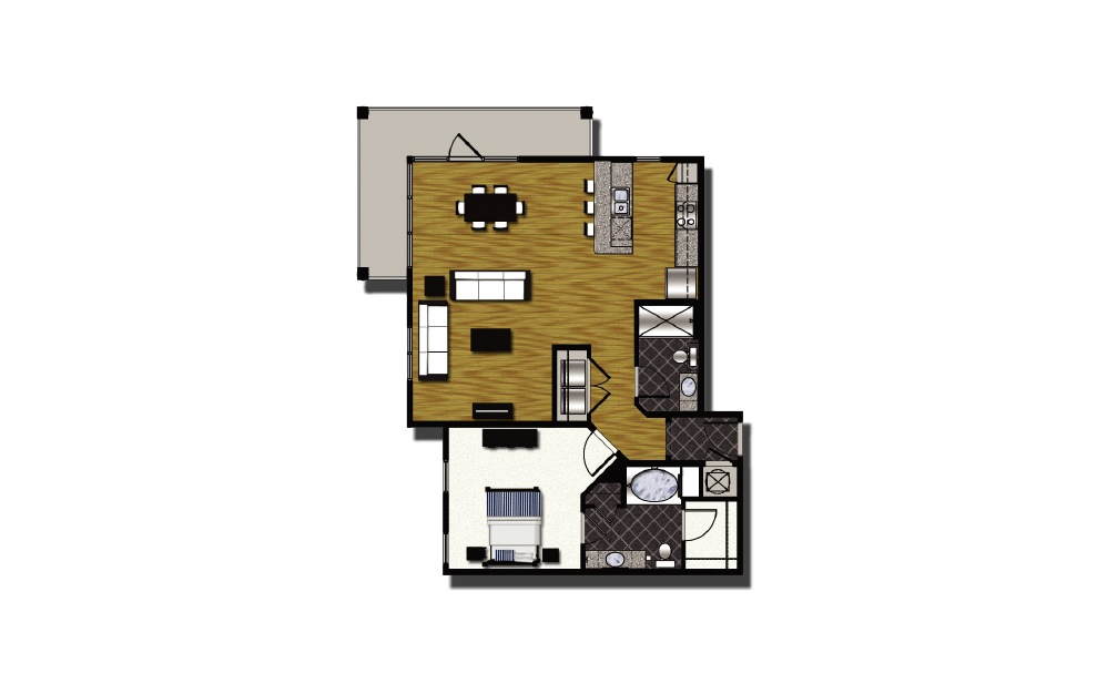 C2-3.1 - 1 bedroom floorplan layout with 2 baths and 1164 square feet.