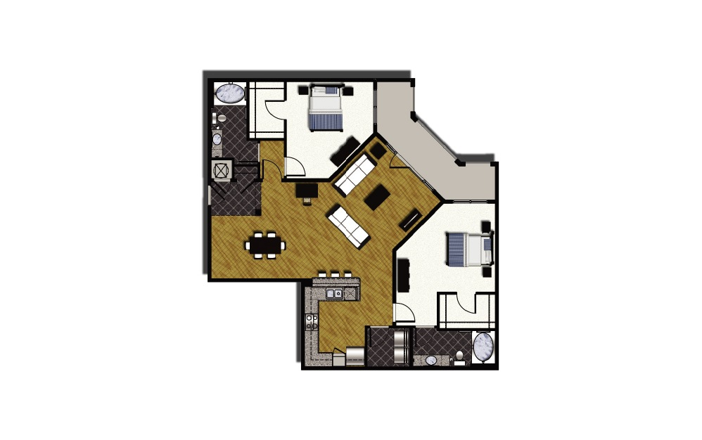 C2-4 - 2 bedroom floorplan layout with 2 baths and 1574 square feet.