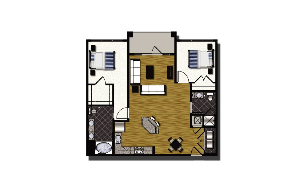 C2-hc - 2 bedroom floorplan layout with 2 baths and 1187 square feet.