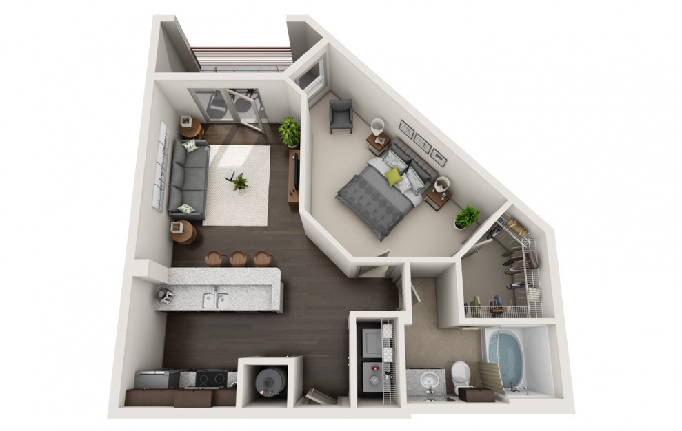 A1-1 - 1 bedroom floorplan layout with 1 bath and 783 square feet. (3D)