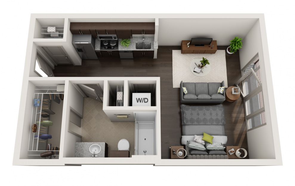 A1-4 - Studio floorplan layout with 1 bath and 515 square feet. (3D)