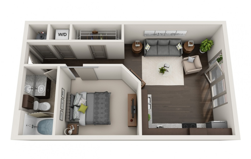 A2-7 - 1 bedroom floorplan layout with 1 bath and 646 square feet. (3D)