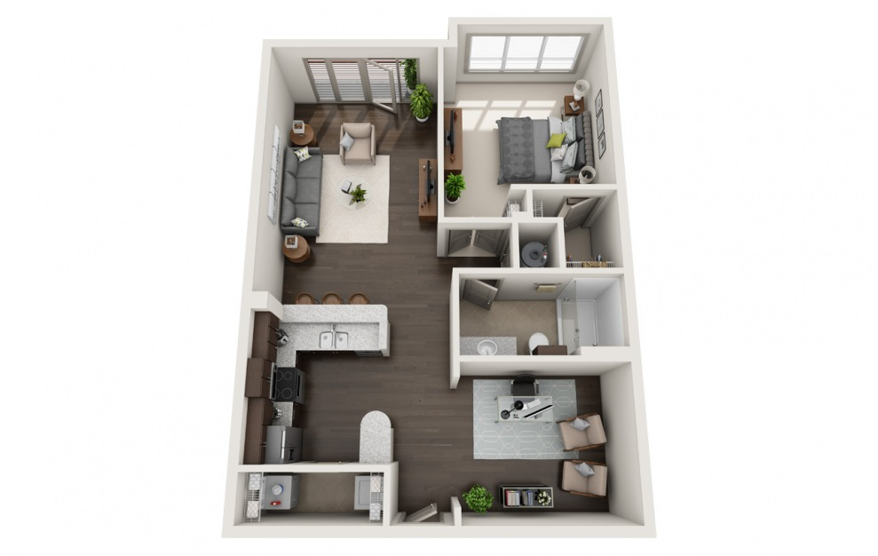 B1-1 - 1 bedroom floorplan layout with 1 bath and 916 square feet. (3D)
