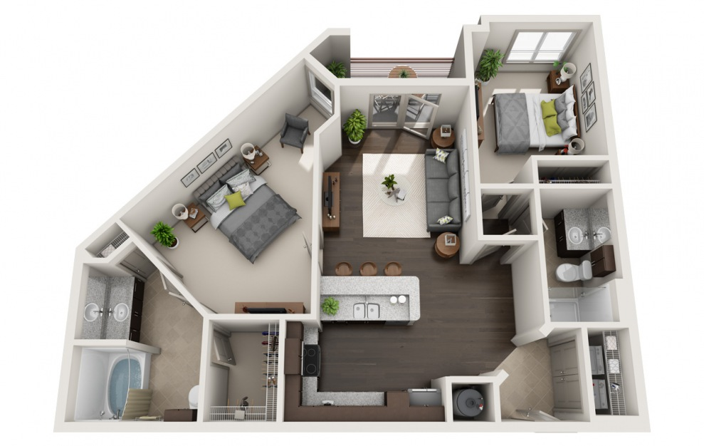 C1-2 - 2 bedroom floorplan layout with 2 baths and 1078 square feet. (3D)