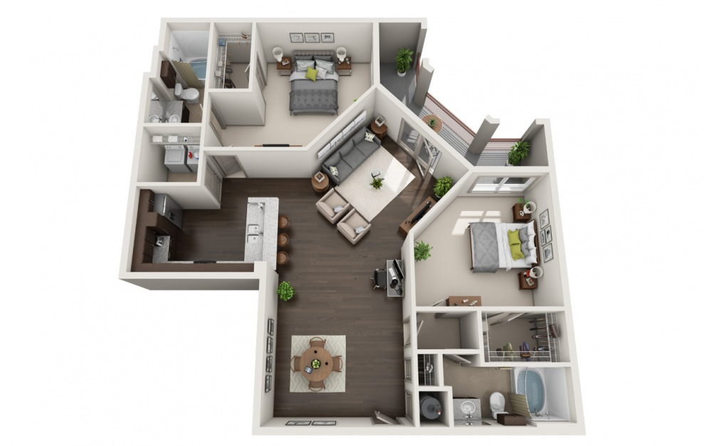 C1-6 - 2 bedroom floorplan layout with 2 baths and 1554 square feet. (3D)