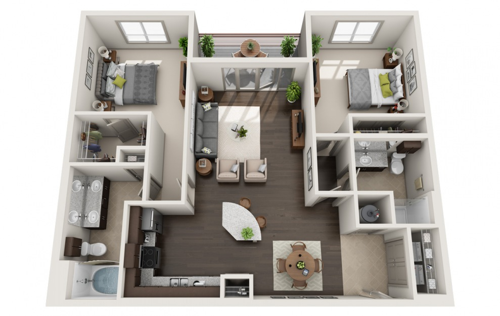 C1-7 - 2 bedroom floorplan layout with 2 baths and 1233 square feet. (3D)