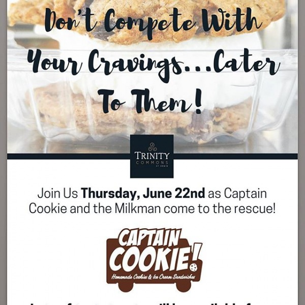 """Trinity Commons is sending big shoutout to Captain Cookie and the Milkman for rescuing our residents from the summer heat...""""one cookie at a time!"""" @captaincookienc #thisisnwrliving #trinitycommons"""